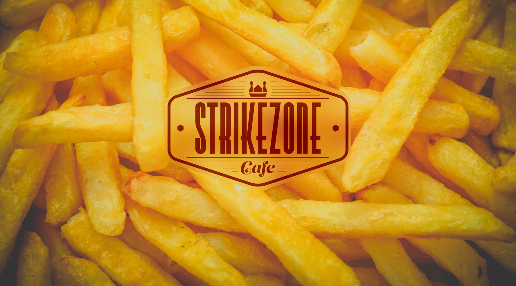 Strikezone Cafe logo on a bed of french fries